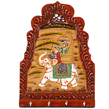 Elephant painted artistic half round key holder