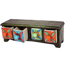 Blue pottery four drawers