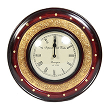 Wooden and brass round wall clock