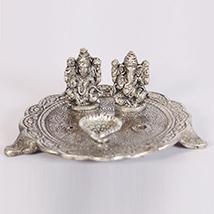 Oxidised ganesh lakshmi pooja thali along with diyas