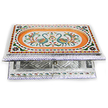 Square shaped dryfruit gift box with meena work