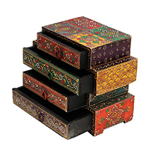 Wooden Embossed Multicolor Four Drawers Box