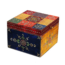 Handmade Multicolor Embossed Box in Wood