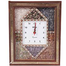 Stone Embedded Multicolor Square Shaped Wooden Wall Clock