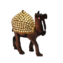 Antique Wooden Stone Studded Camel Figuring for Home Décor