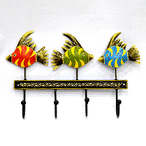 Colorful Fish Metal Hanging with Embossed Work