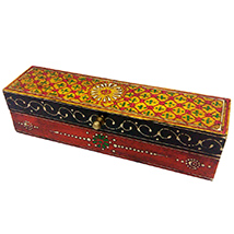 Wooden Embossed Box in Multicolor