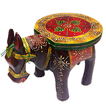 Wooden Horse Shaped Stool with Embossed Work