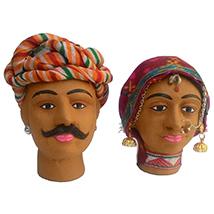 Rajasthani Decorative Kaka Kaki Miniature Heads