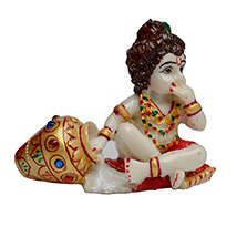 Adorable Kanha Eating Makkhan Idol in Soft Marble