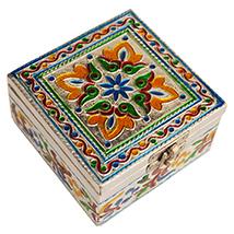 Wooden Square Shaped Box with Meenakari Work