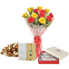 Roses with Rakhi hamper