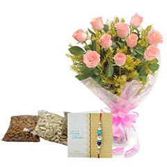 Pink Roses & Rakhi Dryfruits