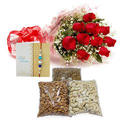 Pink Roses & Rakhi Hamper