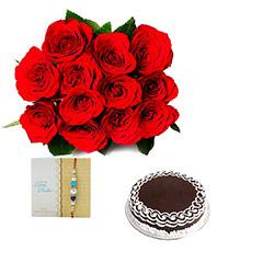 Rakhi Red Roses with Cake