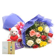 Rakhi Mix Roses N Chocolates