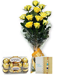 Yellow Roses N Rakhi