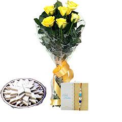 Yellow Roses N Kaju Burfi