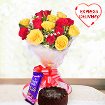 Red & Yellow Roses with Choco Treats