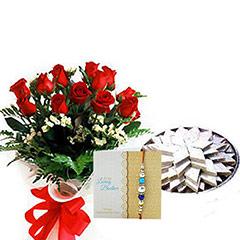 Rakhi Roses with 1kg Kaju Burfi