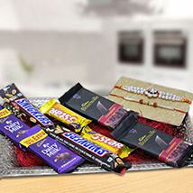 Stone Rakhi with Beautiful Tray of Chocolates /></a></div><div class=