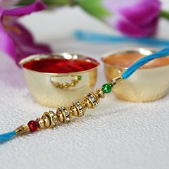 Golden Beaded Rakhi