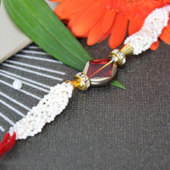 White Beaded Rakhi Thread