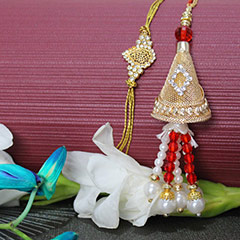 Golden Red Lumba Rakhi set