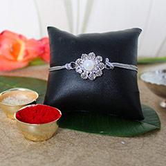 Silver Floral Rakhi