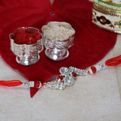 Glittering Silver Stone Rakhi