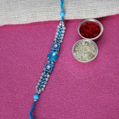 Stone Studded Blue Rakhi