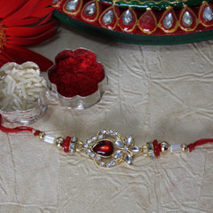 Shiny Red & White Rakhi