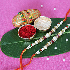 Pearly Beaded Rakhi Set of 2