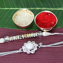 Pearly White Rakhi Set