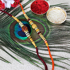 Elegant Beaded Rakhi Set