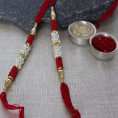Silver & Red Rakhi Set
