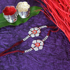 Om on Flower- Rakhi Set