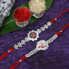 Stone Studded Silver Rakhi Set