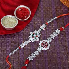 Sparkling Silver Rakhi Set