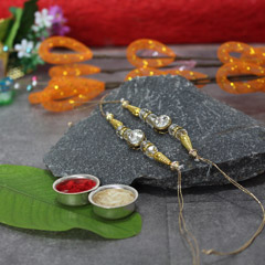 Sparkling Stone Studded Golden Rakhi Set