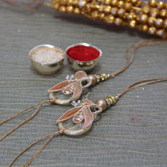 Designer Peach Rakhi Set