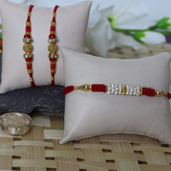 Red, Golden & Silver Rakhi Set
