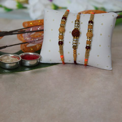 Elegantly Beaded Rakhi Set