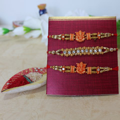 Ganesha Rakhis with Beaded Rakhi