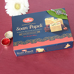 Soan Papdi with Antique Rakhi