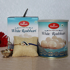 White Rasbhari Sweet with Rakhi