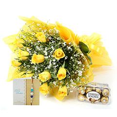 12 Yellow Roses And Rakhi