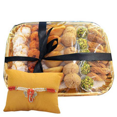 Deluxe Sweet N Savory Tray with Rakhi