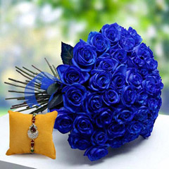 Rakhi with Blue Roses
