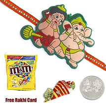 Kids Rakhi with M&Ms Peanut Butter Bag